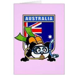 Greeting Card with Australia Scuba Diving Panda design