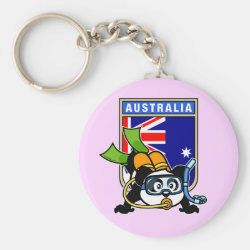 Basic Button Keychain with Australia Scuba Diving Panda design