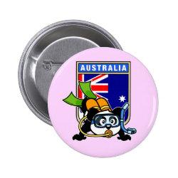 Round Button with Australia Scuba Diving Panda design