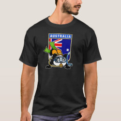 Men's Basic Dark T-Shirt with Australia Scuba Diving Panda design