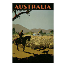 Australia Sheep Farm Vintage Travel Poster