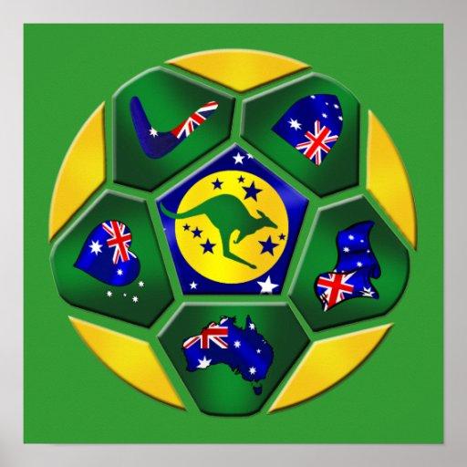 Australia Soccer Ball Panels Australia flag gear Poster
