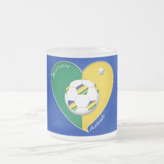 AUSTRALIA SOCCER national team Green & Gold 2014 Frosted Glass Coffee Mug