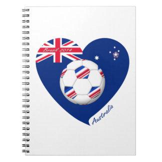 """""""AUSTRALIA"""" Soccer Team. Fútbol de Australia. Libros De Apuntes Con Espiral"""