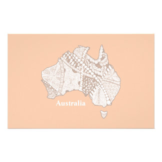 Australia Souvenir Map Art Stationery