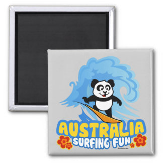 Australia Surfing Panda 2 Inch Square Magnet