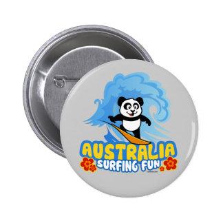Australia Surfing Panda Pinback Buttons