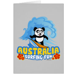 Australia Surfing Panda Greeting Card