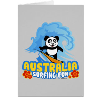 Australia Surfing Panda Card