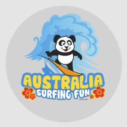 Round Sticker with Australia Surfing Panda design