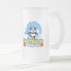 Frosted Glass Mug with Australia Surfing Panda design