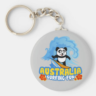 Australia Surfing Panda Keychain
