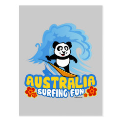 Postcard with Australia Surfing Panda design