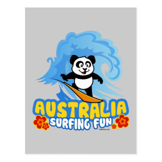 Australia Surfing Panda Postcard