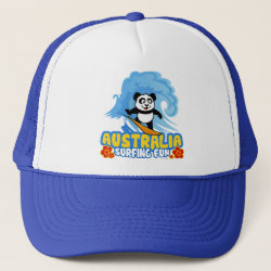 Trucker Hat with Australia Surfing Panda design
