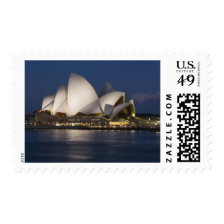 Australia, Sydney. Opera House at night on Postage Stamp