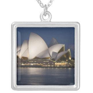 Australia, Sydney. Opera House at night on Square Pendant Necklace