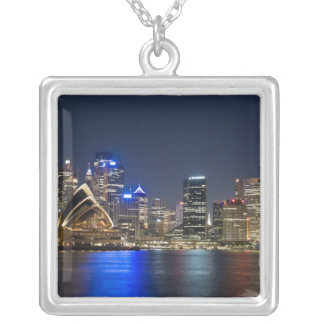 Australia, Sydney. Skyline with Opera House seen Square Pendant Necklace