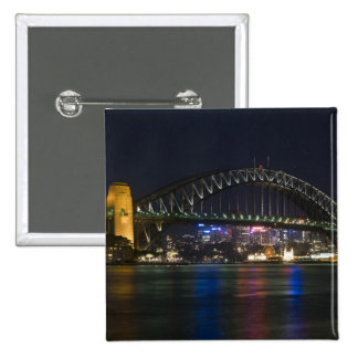 Australia, Sydney. Sydney harbor at night. Button