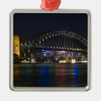 Australia, Sydney. Sydney harbor at night. Metal Ornament