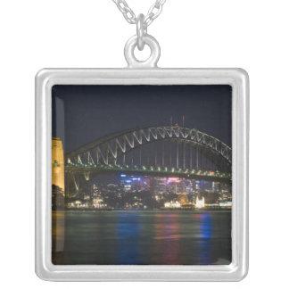 Australia, Sydney. Sydney harbor at night. Square Pendant Necklace