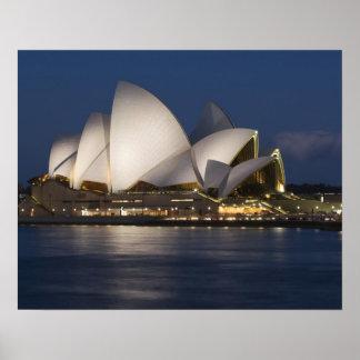 Australia Sydney Teatro de la ópera en la noche Poster
