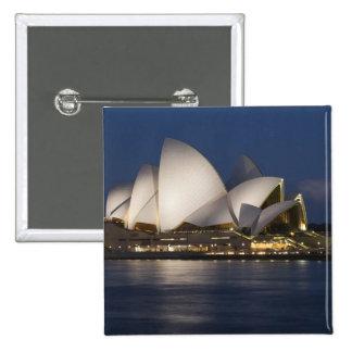 Australia, Sydney. Teatro de la ópera en la noche  Pin Cuadrada 5 Cm