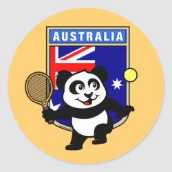 Round Sticker with Australian Tennis Panda design
