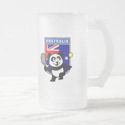 Frosted Glass Mug with Australian Tennis Panda design