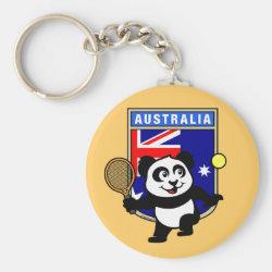 Basic Button Keychain with Australian Tennis Panda design