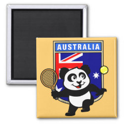 Square Magnet with Australian Tennis Panda design