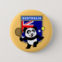 Round Button with Australian Tennis Panda design