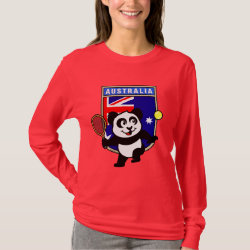 Women's Basic Long Sleeve T-Shirt with Australian Tennis Panda design