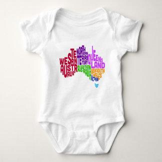 Australia Typographic Text Map Baby Bodysuit
