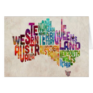 Australia Typographic Text Map Greeting Card