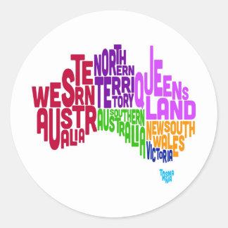 Australia Typographic Text Map Classic Round Sticker