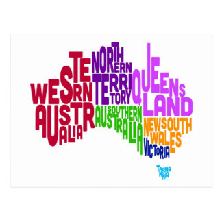 Australia Typographic Text Map Postcard