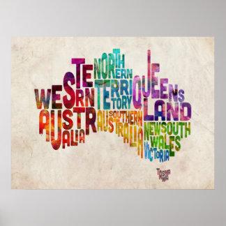 Australia Typographic Text Map Posters