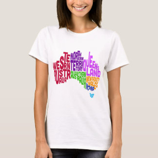 Australia Typographic Text Map T-Shirt