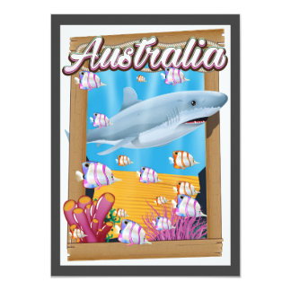 Australia Underwater shark travel poster Card