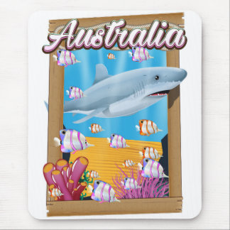 Australia Underwater shark travel poster Mouse Pad
