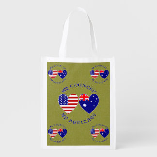 Australia USA My Country My Heritage Grocery Bag