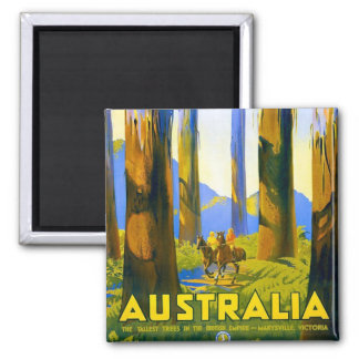 Australia - viaje del vintage imán cuadrado