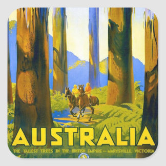 Australia - viaje del vintage pegatina cuadrada