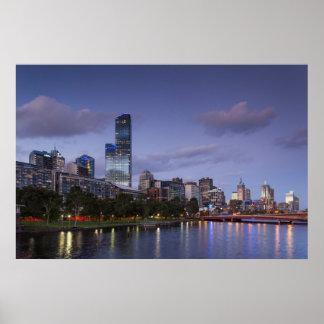 Australia, Victoria, Melbourne, skyline with 2 Poster