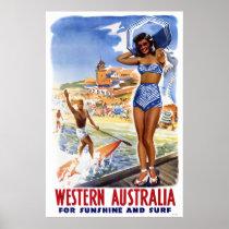 Australia Vintage Travel Poster Restored