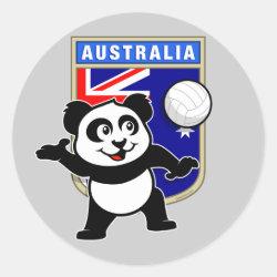 Round Sticker with Australia Volleyball Panda design