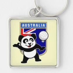 Premium Square Keychain with Australia Volleyball Panda design