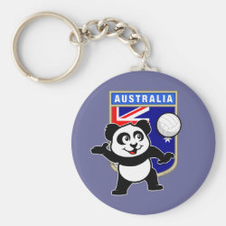 Basic Button Keychain with Australia Volleyball Panda design