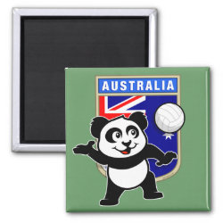 Square Magnet with Australia Volleyball Panda design